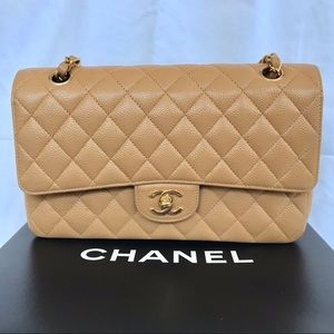 Chanel classic caviar double flap (m)